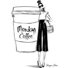"Poshly on Instagram: ""This Monday morning calls for a giant latte! (Illustration via @meganhess_official) #happymonday #butfirstcoffee #latt..."