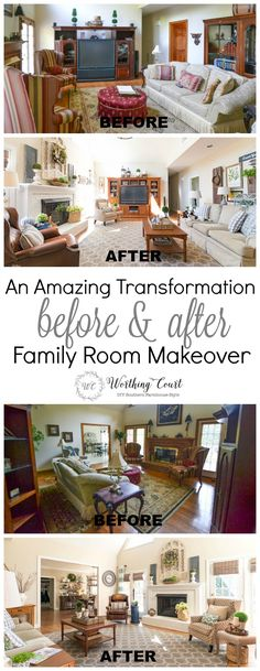 Amazing before and after family room makeover. Taken from dark and dated to bright and inviting with rustic farmhouse touches.