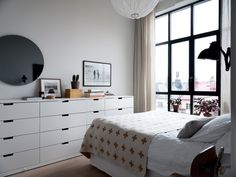 23 Ideas For Bedroom Ikea Nordli Design Black Bedroom Furniture, Bedroom Design, Floor To Ceiling Windows, Apartment Decor, Scandinavian Apartment, Interior Design Bedroom, Trendy Bedroom, Ikea Bedroom, Modern Apartment