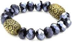 """Tova Jewelry """"Crystal Stretch"""" Blue Bracelet Tova Jewelry. Save 41 Off!. $21.99. Faceted crystals. Made in Canada. Two vintage etched brass beads per bracelet. The stretch bracelet will fit on anyone's wrist"""