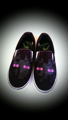 Enderman Shoes that I painted for my son! #Minecraft