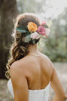 Tropical Glam Austin Wedding at Mercury Hall Bridal Hair Flowers, Flower Headpiece, Bridal Hair And Makeup, Wedding Looks, Bridal Looks, Fall Wedding, Romantic Curls, Woods Photography, Wedding Hairstyles For Long Hair
