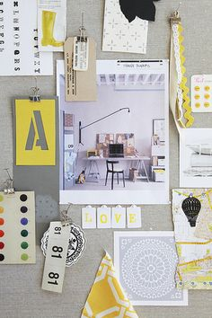 gray, white, and yellow mood board