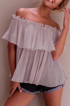 Pink Pleated Design Off Shoulder Blouse - US$21.95 -YOINS