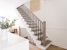 Home Remodeling Stairs Toronto Residence Before and Afters Open Staircase, Staircase Railings, Banisters, Open Basement Stairs, Stairways, Metal Stair Spindles, Rod Iron Railing, Staircase Diy, Black Stair Railing