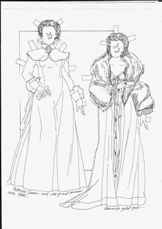 GWTW:  Scarlett paper dolls to color by Sandra Vanderpool