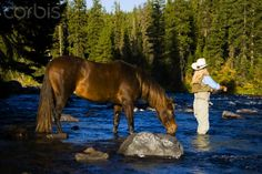 Cowgirl Fly Fishing with a horse!