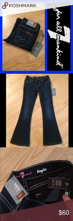 "NWT 7 FOR ALL MANKIND: Kaylie girls jeans - size 7 NWT 7 for all mankind Kaylie slim fit boot jeans with a 25"" inseam, 6.75"" rise and 17"" leg opening.. They measure 11"" across the top of the waist when laying flat.. 58% cotton, 36% polyester and 6% spandex.. These are super soft and very stretchy 7 For All Mankind Jeans Boot Cut"