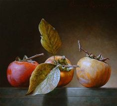 Still life with 3 persimmons: