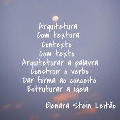 Fala do arquiteto - poesia de Elenara Stein Leitao
