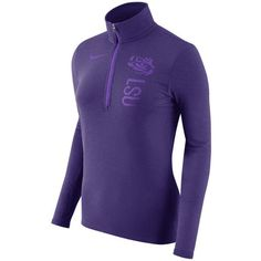 Nike Women's Lsu Tigers Stadium Element Quarter-Zip Pullover ($56) ❤ liked on Polyvore featuring activewear, activewear tops, purple, 1 4 zip pullover, long sleeve activewear, long sleeve pullover, purple pullover and nike