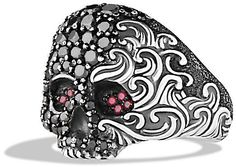Waves Small Skull Ring with Black Diamonds and Rubies