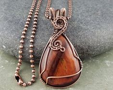 Red Tigers Eye Pendant, Wire Wrapped Jewelry, Solid Copper Jewelry, Birthstone Jewellery, Handmade Copper Chain, Anniversary Gift