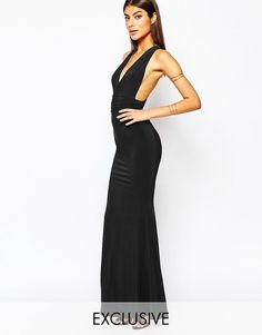 1614bdcfda2 Club L Open Back Strap Detail Maxi Dress With Fishtail Aftenkjoler