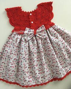 Crochet Toddler Dress, Crochet Dress Girl, Crochet Baby Clothes, Knit Dress, Kids Dress Clothes, Dresses Kids Girl, Little Dresses, Baby Dress Patterns, Baby Knitting Patterns