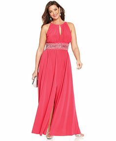 R&M Richards Plus Size Sleeveless Beaded Gown - Plus Size Dresses - Plus Sizes - Macy's
