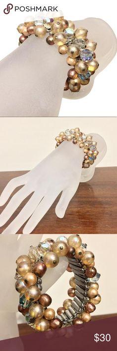 Vintage cha cha stretch bracelet Vintage cha cha metal stretch bracelet with aurora borealis crystals Jewelry Bracelets