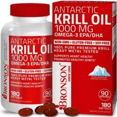 Antarctic Krill Oil 1000 mg with EPA DHA Astaxanthin and Phospholipids Pure Premium Krill Oil - Heavy Metal Tested Non GMO Gluten Free Soy Free - 120 Softgels 60 Servings Household-Personal Care Minerals-Supplements Fatty Acids-Oils Omega 3 Epa Dha, Linus Pauling, Healthy Cholesterol Levels, Krill Oil, Thyroid Hormone, Fish Oil, Heavy Metal, Vitamins, Pure Products