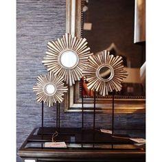Sunburst mirrored accessories from Worlds Away. #WorldsAway #sunburst #mirror #silver #gold #accessories
