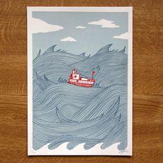 In Wild Waters Screenprint by johnalanbirch on #etsy $27.79