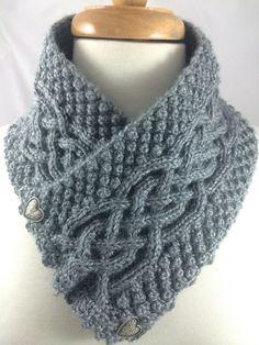 Neckwarmer #Irish #Celtic #Knot Trinity Gray Heather knit Caron Simply