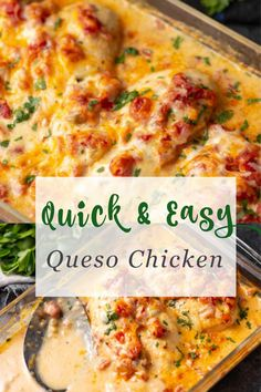 Baked Queso Chicken will be your new favorite weeknight meal! It's not only QUICK and EASY, but delicious. With just a few ingredients and a special tip, you'll have moist and tender chicken on the table with almost no effort. Mexican Food Recipes, Whole Food Recipes, Cooking Recipes, Mexican Dishes, Slow Cooker Beef Tacos, Easy Chicken Recipes, Chicken Meals, Keto Chicken, Quick Recipes
