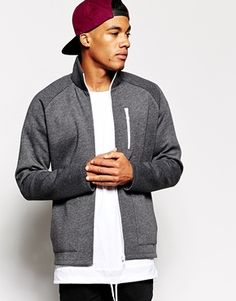 ASOS Zip Up Jacket in Neoprene Jersey With White Zips