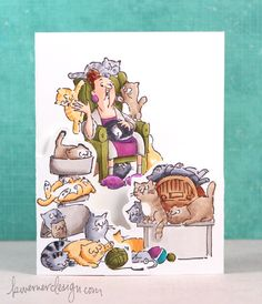 Read post - fun way that the card opens to reveal message rocks! Copic Markers & AI Cat Lady - Color Wednesday #47