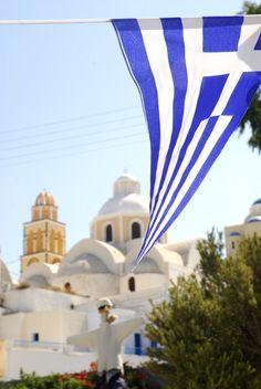Greek Flag always flying Santorini, Greece Santorini Island, Santorini Greece, Mykonos, Greek Flag, Go Greek, Greek Girl, Beautiful Islands, Beautiful Places, Places To Travel