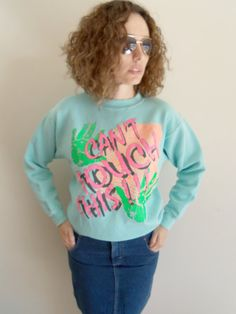 Vintage Indie 80s 90s Neon Cant Touch This by FunkyOldSoul on Etsy