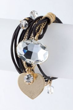 """The NEWEST version of this popular 36"""" long wrap bracelet.  BLACK/GOLD with dangling heart. $ 45.00 ♥ WANT ♥"""