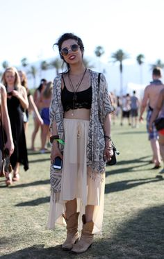 festival fashion at coachella hippie indie hipster girl with shades retro vintage chiffon skirt boots