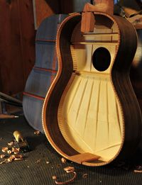 Inside of a Torres / Hauser classical guitar