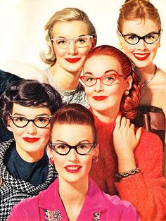 vintage style cat eye glasses, 1950s fashion