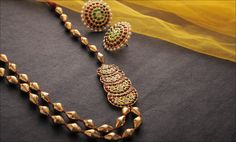 Buy Charms Of Tradition Aharya Fascinating gold-plated silver temple jewelry with pearls Online at Jaypore.com