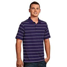 Men's Antigua Striped Performance Golf Polo, Size: Medium, Drk Purple