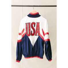 Vintage Nike USA Windbreaker Jacket ($89) ❤ liked on Polyvore featuring activewear, activewear jackets and vintage sportswear