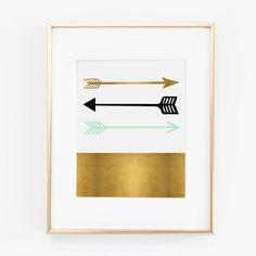Mint Black and Gold Arrows Digital Printable Art   Instant Download Print   Office Art   Wall Decor   Nursery Art