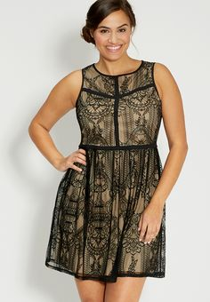 plus size lace dress with keyhole back - #maurices