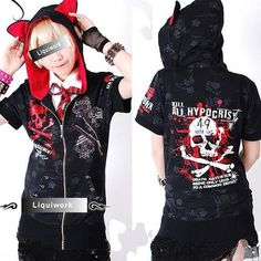 Black and Red Gothic Short Sleeved Hoodies