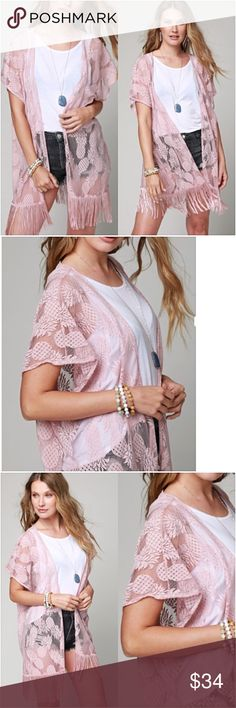 """Pineapple Fringe Boho Chic Kimono Wrap Coverup O/S Fabulous fringe kimono with a trendy pineapple design. Gorgeous shade of rose blush with armholes. Works great as a swim coverup - 100% polyester 30"""" x 32""""  One Size Fits Most Bohemian Festival Vacation Accessories Scarves & Wraps"""