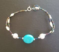 Handmade Turquoise and Genuine Peral Beaded Bracelet 7 inches in Length, 1 Available Pearl Beads, Beadwork, My Etsy Shop, Beaded Bracelets, Turquoise, Gemstones, Pearls, Check, Handmade