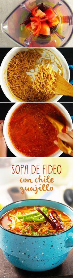 Sopa de fideo casera mexicana con caldo picosito de chile guajillo. Una sopa de pasta muy fácil de hacer y perfecta para quitarse el frío.