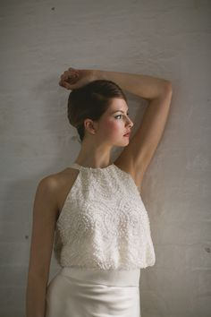 The elegant 'Topaz' vintage style two piece dress by Sharon Hoey is now available from Churchgate Porter. Book now at www.churchgateporter.com