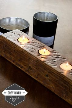 This beautiful reclaimed cedar wood tea light holder is perfect for three tea lights. Each round hole is 1 5/8 wide. The wood holder measures 14