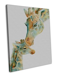 GIRAFFE BABY AND MUM KISS WATERCOLOUR IMAGE 16x12 FRAMED CANVAS Print: STUNNING FRAMED CANVAS, GREAT AS A GIFT, SOUVENIR OR… #OnlineMarket