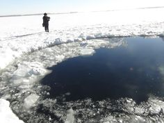 Ice hole left from earlier meteor