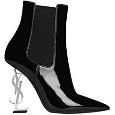 74ae6b82e0130 Womens YSL Heeled Sandals OPYUM 85 ANKLE BOOT BLACK PATENT LEATHER AND  CHROME