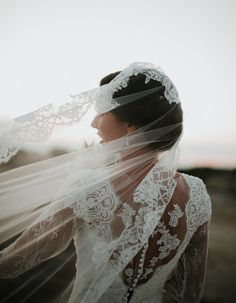 Charming & Traditional Apulia Wedding With A Modern Twist - Wilkie: The lace details on this veil are STUNNING!