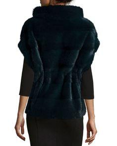 Belted Mink Fur Pullover Vest, Green Moss Fur Fashion, Luxury Fashion, Mink Fur, Belt Tying, Grosgrain, Neiman Marcus, Fur Coat, Short Sleeves, Pullover